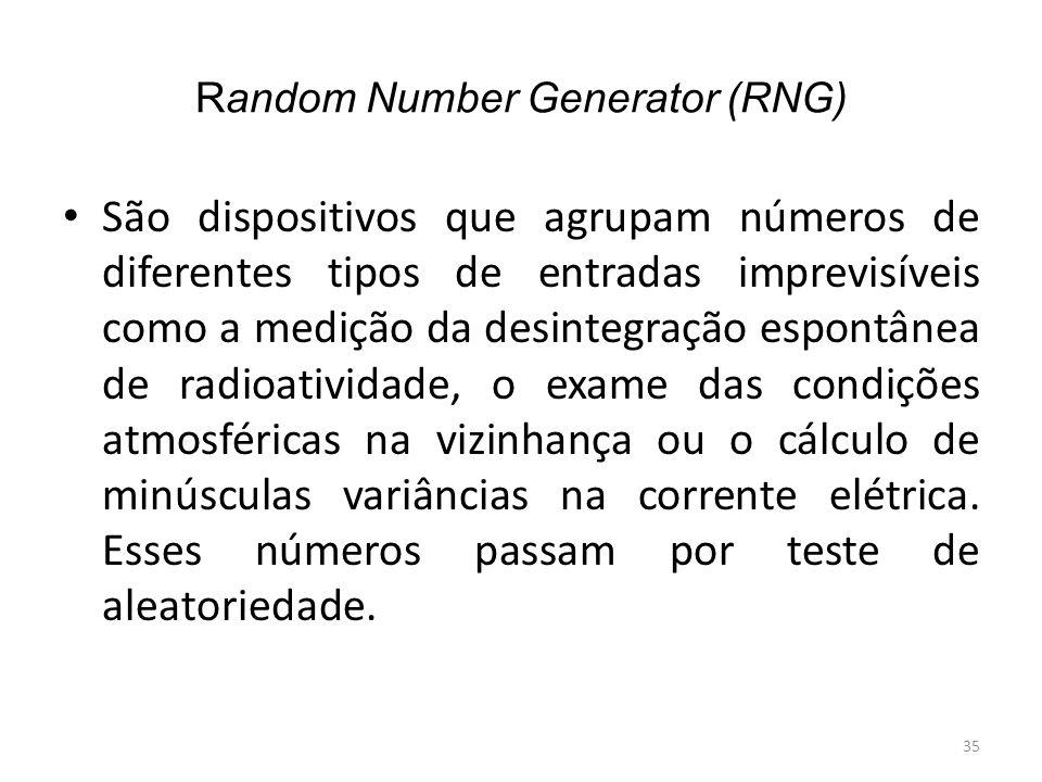 Random Number Generator (RNG) São dispositivos que agrupam números de diferentes tipos de entradas imprevisíveis como a medição da desintegração espon