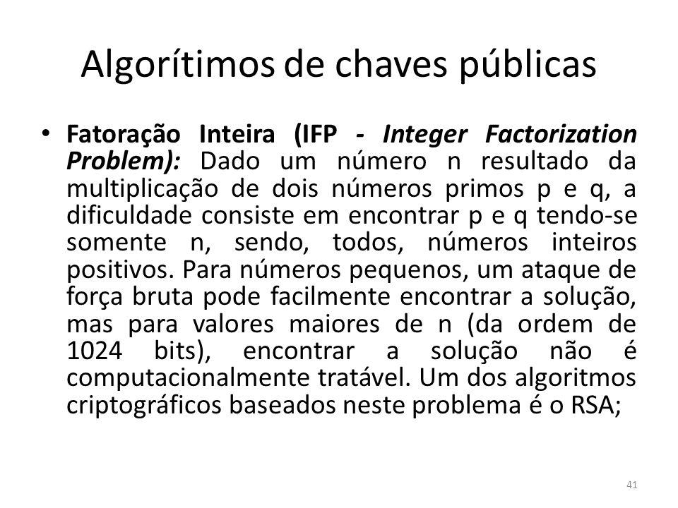Algorítimos de chaves públicas Fatoração Inteira (IFP - Integer Factorization Problem): Dado um número n resultado da multiplicação de dois números pr