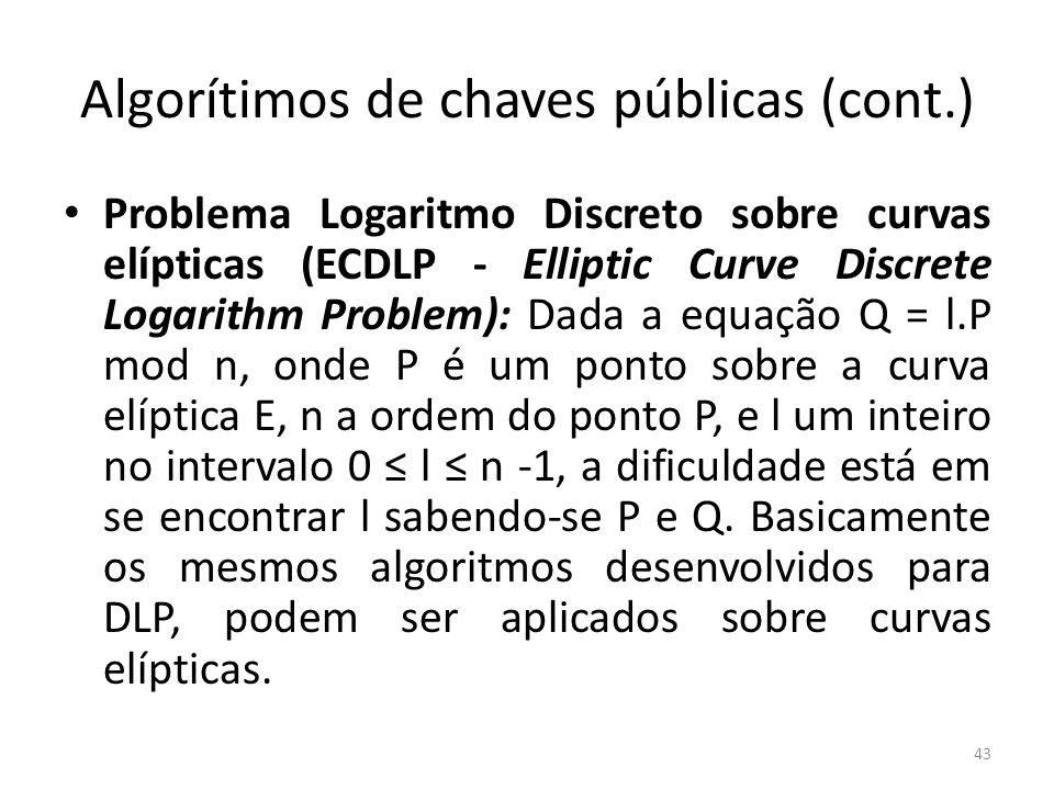 Algorítimos de chaves públicas (cont.) Problema Logaritmo Discreto sobre curvas elípticas (ECDLP - Elliptic Curve Discrete Logarithm Problem): Dada a