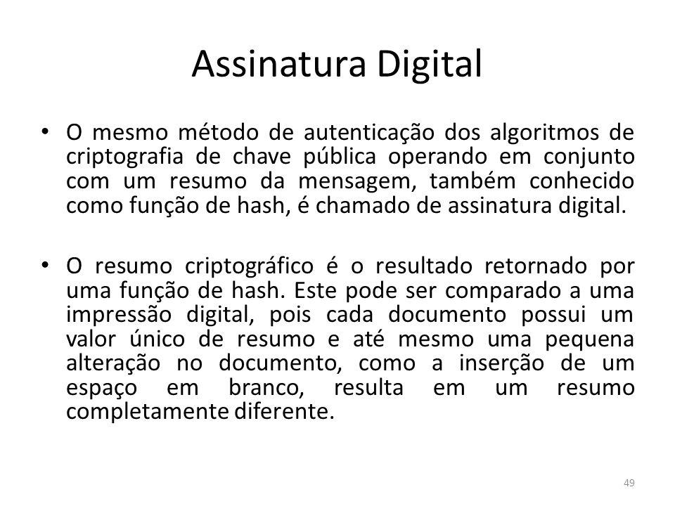 Assinatura Digital O mesmo método de autenticação dos algoritmos de criptografia de chave pública operando em conjunto com um resumo da mensagem, tamb