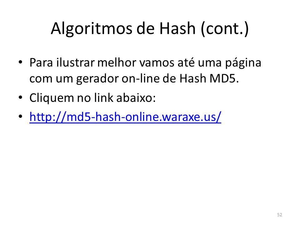 Algoritmos de Hash (cont.) Para ilustrar melhor vamos até uma página com um gerador on-line de Hash MD5. Cliquem no link abaixo: http://md5-hash-onlin