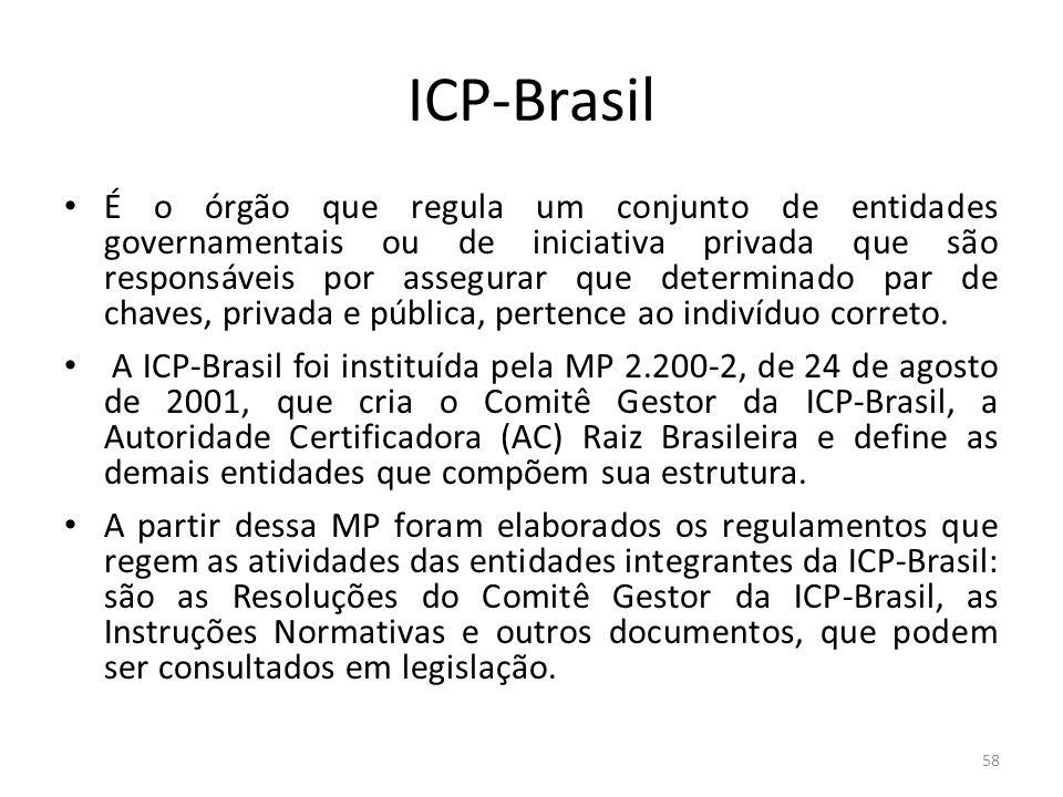 ICP-Brasil É o órgão que regula um conjunto de entidades governamentais ou de iniciativa privada que são responsáveis por assegurar que determinado pa