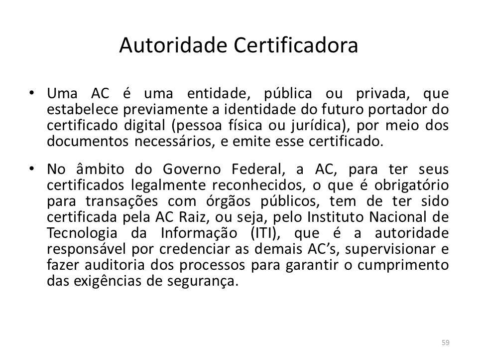Autoridade Certificadora Uma AC é uma entidade, pública ou privada, que estabelece previamente a identidade do futuro portador do certificado digital