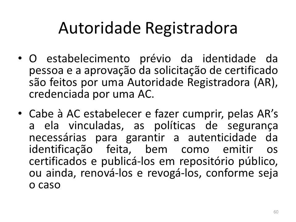 Autoridade Registradora O estabelecimento prévio da identidade da pessoa e a aprovação da solicitação de certificado são feitos por uma Autoridade Reg