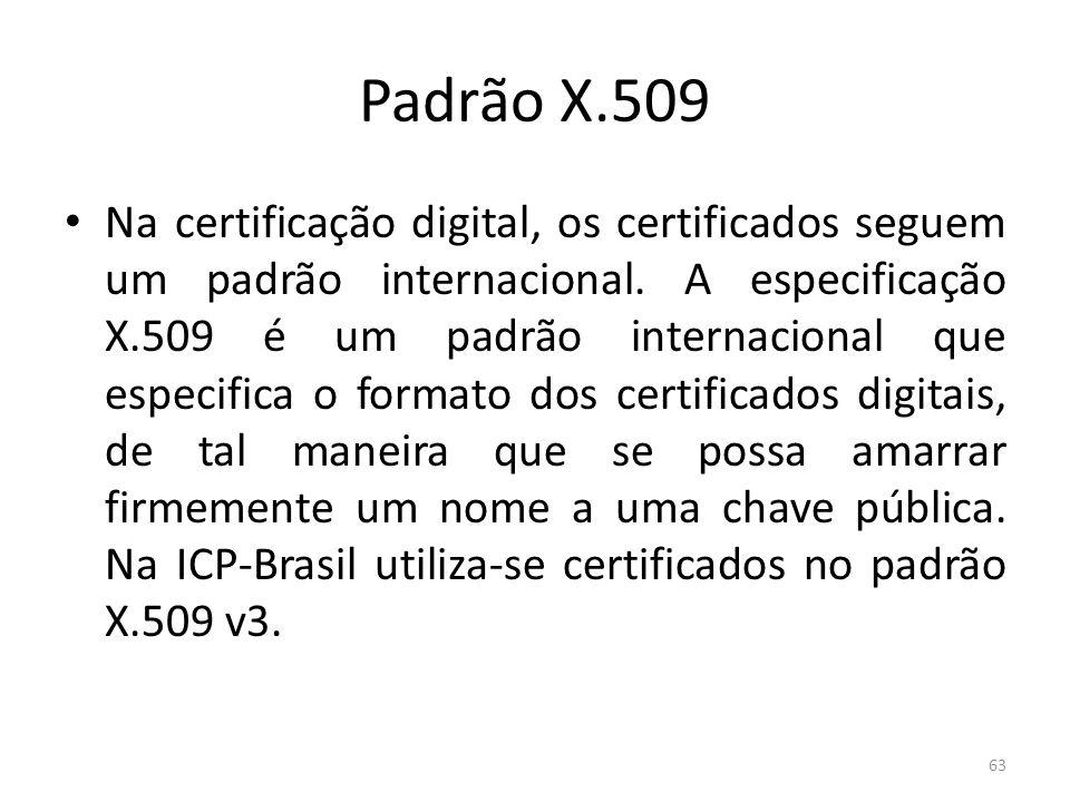 Padrão X.509 Na certificação digital, os certificados seguem um padrão internacional. A especificação X.509 é um padrão internacional que especifica o