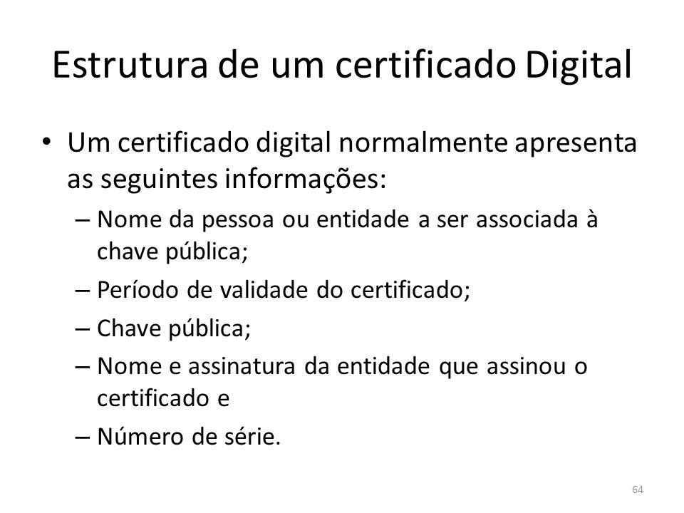Estrutura de um certificado Digital Um certificado digital normalmente apresenta as seguintes informações: – Nome da pessoa ou entidade a ser associad