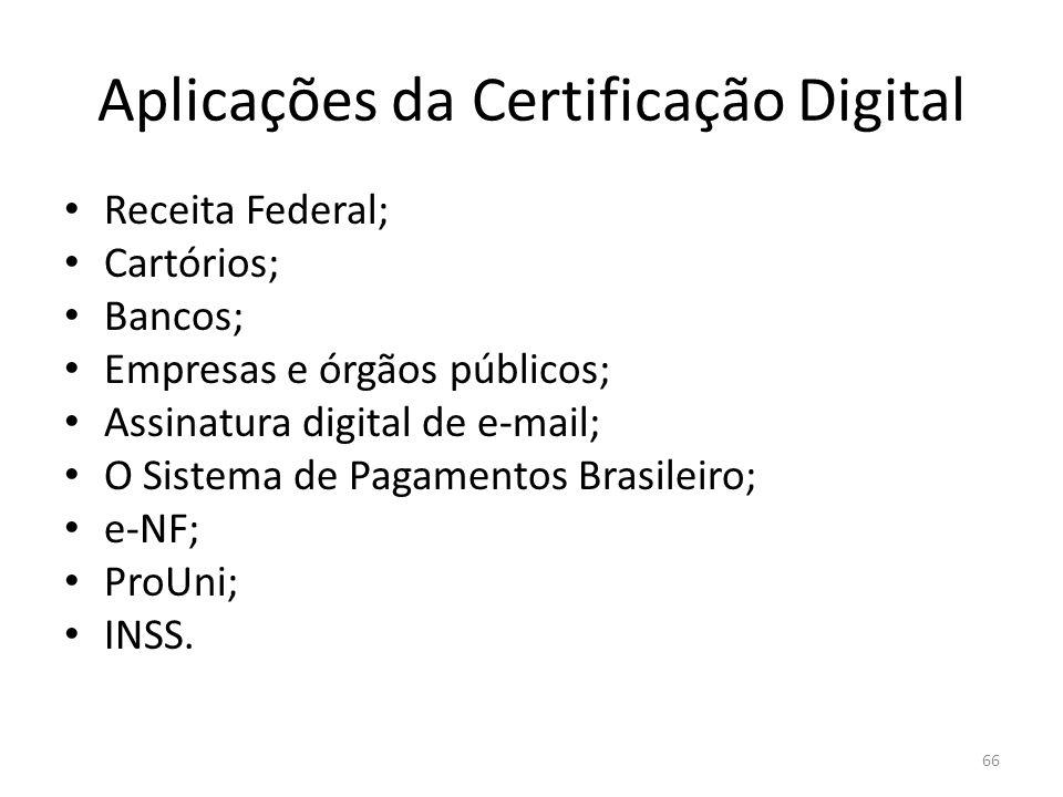Aplicações da Certificação Digital Receita Federal; Cartórios; Bancos; Empresas e órgãos públicos; Assinatura digital de e-mail; O Sistema de Pagament