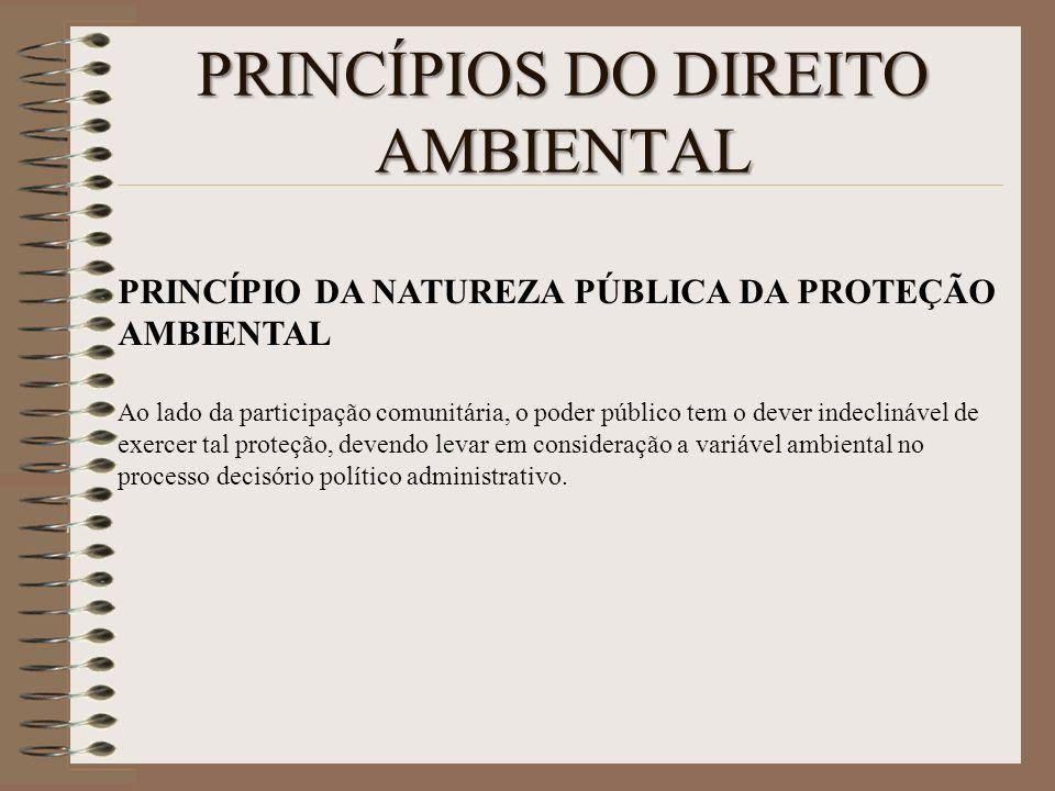 PRINCÍPIOS DO DIREITO AMBIENTAL PRINCÍPIO DA NATUREZA PÚBLICA DA PROTEÇÃO AMBIENTAL Ao lado da participação comunitária, o poder público tem o dever i