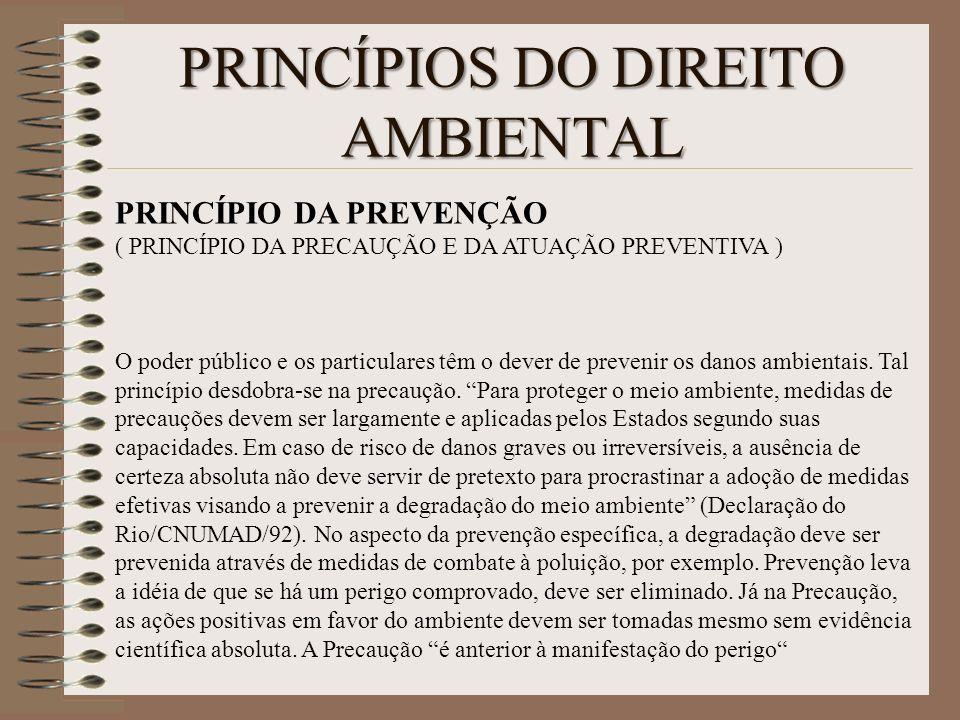PRINCÍPIOS DO DIREITO AMBIENTAL PRINCÍPIO DA PREVENÇÃO ( PRINCÍPIO DA PRECAUÇÃO E DA ATUAÇÃO PREVENTIVA ) O poder público e os particulares têm o deve