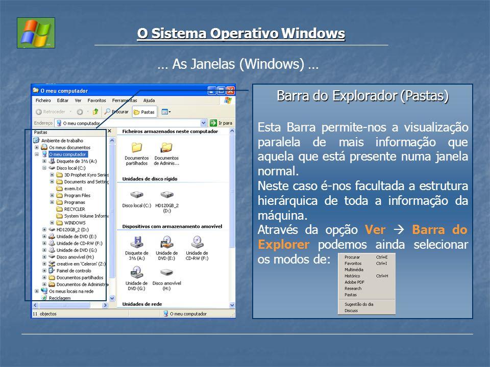 O Sistema Operativo Windows … As Janelas (Windows) … Barra do Explorador (Pastas) Esta Barra permite-nos a visualização paralela de mais informação qu