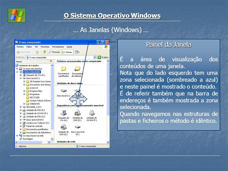 O Sistema Operativo Windows … As Janelas (Windows) … Painel da Janela É a área de visualização dos conteúdos de uma janela. Nota que do lado esquerdo