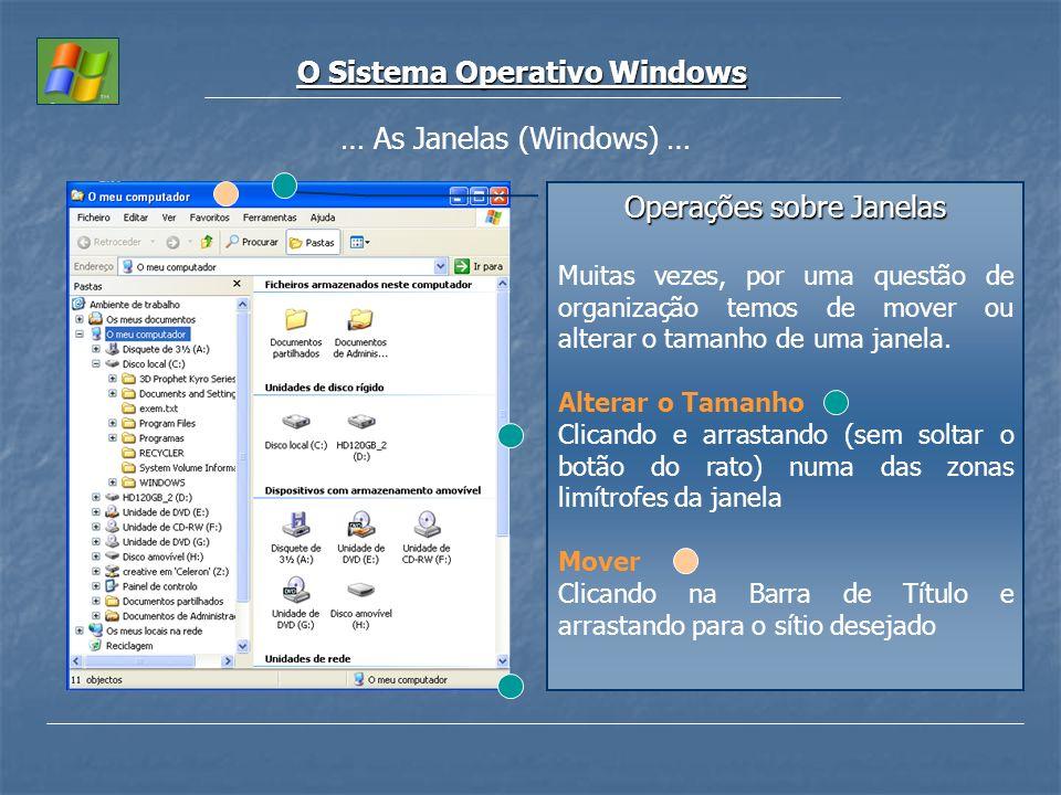 O Sistema Operativo Windows … As Janelas (Windows) … Operações sobre Janelas Muitas vezes, por uma questão de organização temos de mover ou alterar o