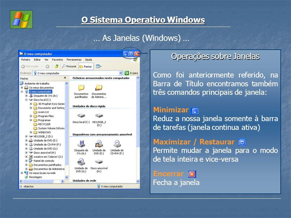 O Sistema Operativo Windows … As Janelas (Windows) … Operações sobre Janelas Como foi anteriormente referido, na Barra de Título encontramos também tr