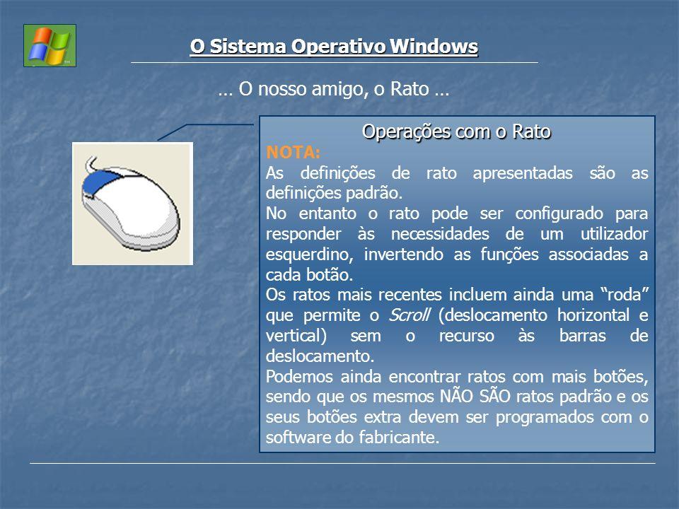 O Sistema Operativo Windows … O nosso amigo, o Rato … Operações com o Rato NOTA: As definições de rato apresentadas são as definições padrão. No entan