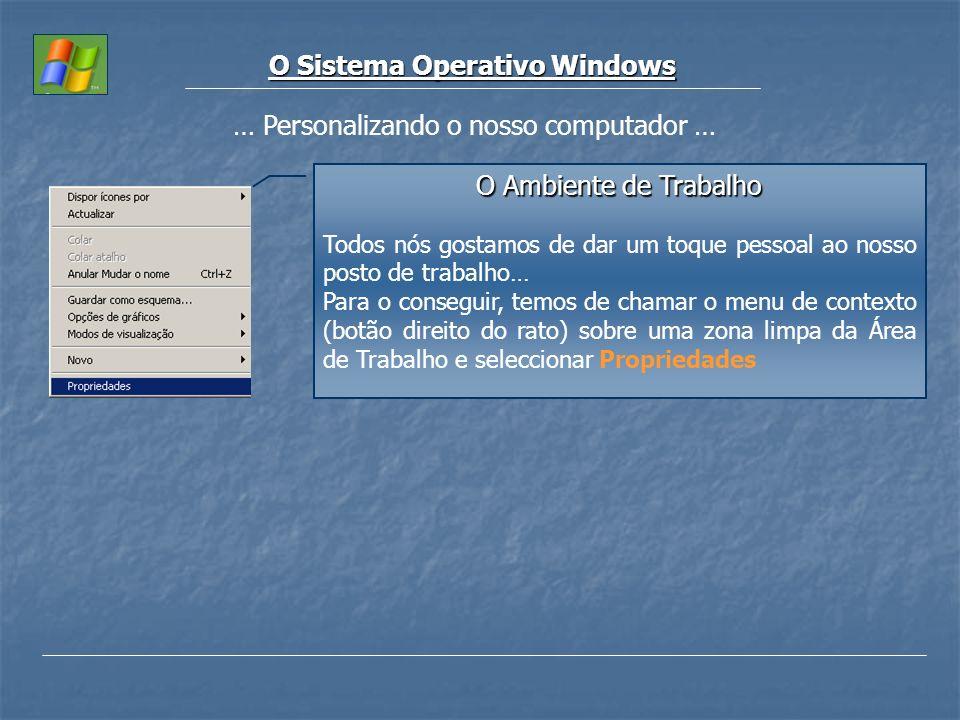 O Sistema Operativo Windows … Personalizando o nosso computador … O Ambiente de Trabalho Todos nós gostamos de dar um toque pessoal ao nosso posto de