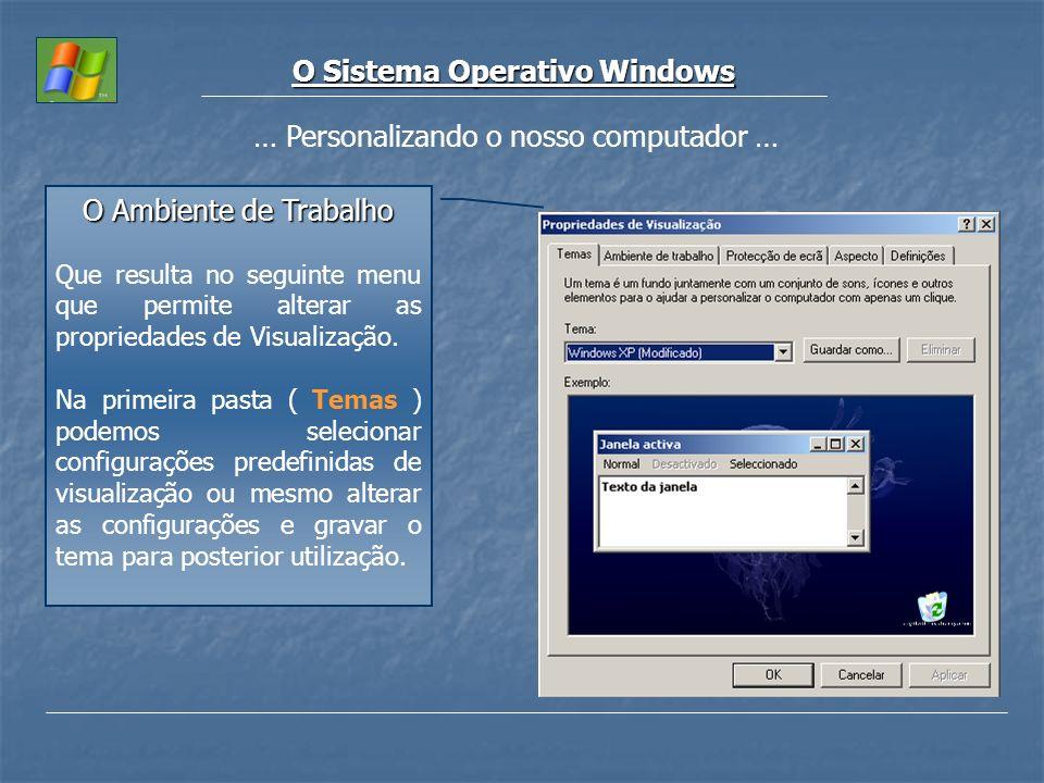 O Sistema Operativo Windows … Personalizando o nosso computador … O Ambiente de Trabalho Que resulta no seguinte menu que permite alterar as proprieda