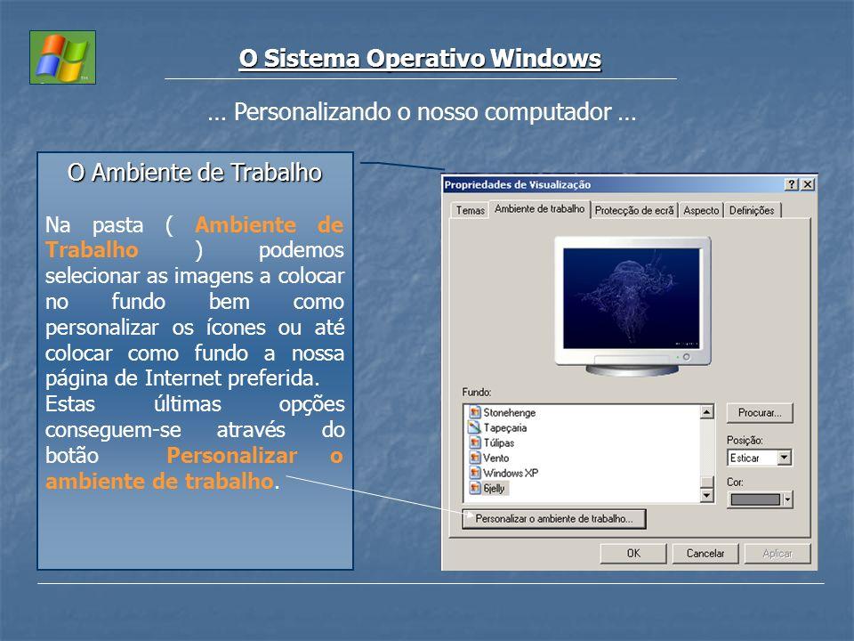 O Sistema Operativo Windows … Personalizando o nosso computador … O Ambiente de Trabalho Na pasta ( Ambiente de Trabalho ) podemos selecionar as image