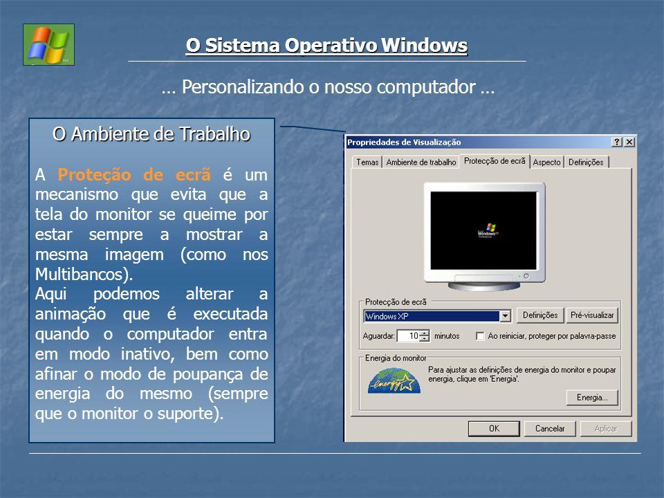O Sistema Operativo Windows … Personalizando o nosso computador … O Ambiente de Trabalho A Proteção de ecrã é um mecanismo que evita que a tela do mon