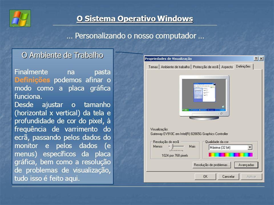 O Sistema Operativo Windows … Personalizando o nosso computador … O Ambiente de Trabalho Finalmente na pasta Definições podemos afinar o modo como a p