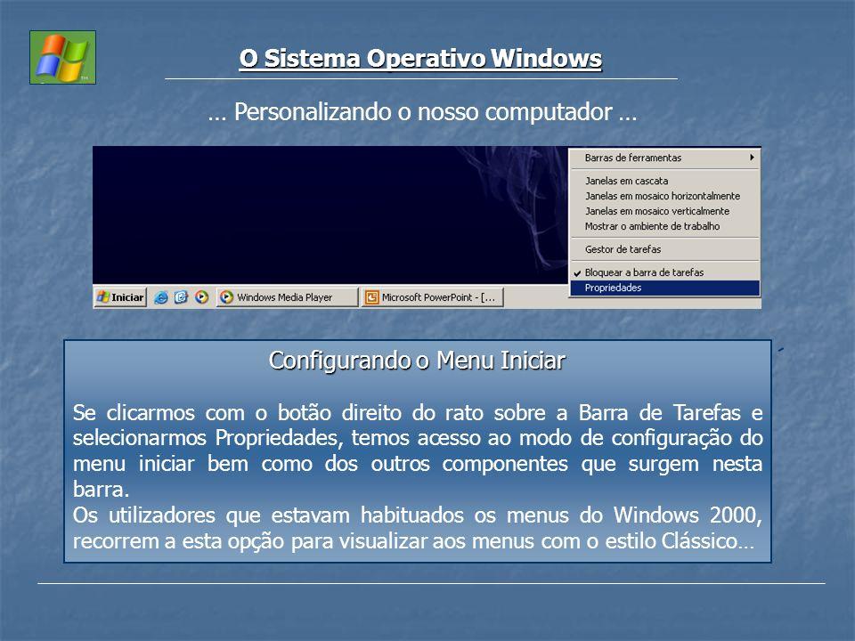 O Sistema Operativo Windows … Personalizando o nosso computador … Configurando o Menu Iniciar Se clicarmos com o botão direito do rato sobre a Barra d
