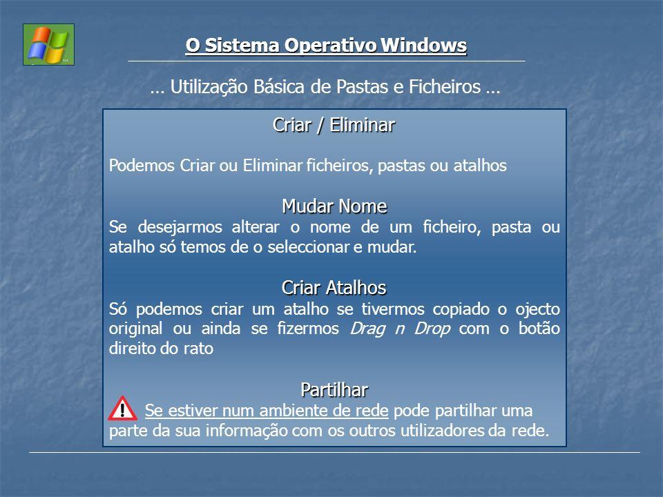 O Sistema Operativo Windows … Utilização Básica de Pastas e Ficheiros … Criar / Eliminar Podemos Criar ou Eliminar ficheiros, pastas ou atalhos Mudar