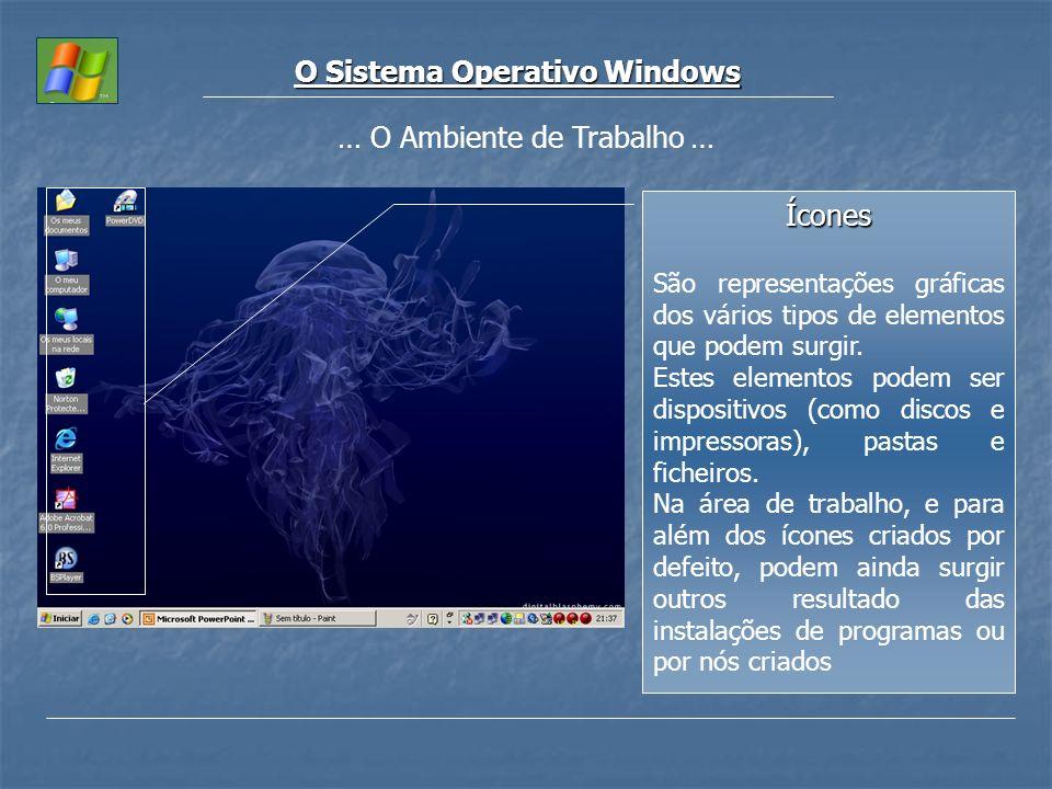 O Sistema Operativo Windows Ícones São representações gráficas dos vários tipos de elementos que podem surgir. Estes elementos podem ser dispositivos