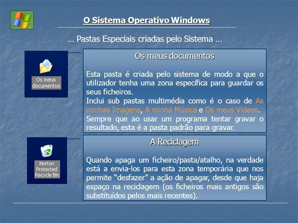 O Sistema Operativo Windows … Pastas Especiais criadas pelo Sistema … Os meus documentos Esta pasta é criada pelo sistema de modo a que o utilizador t