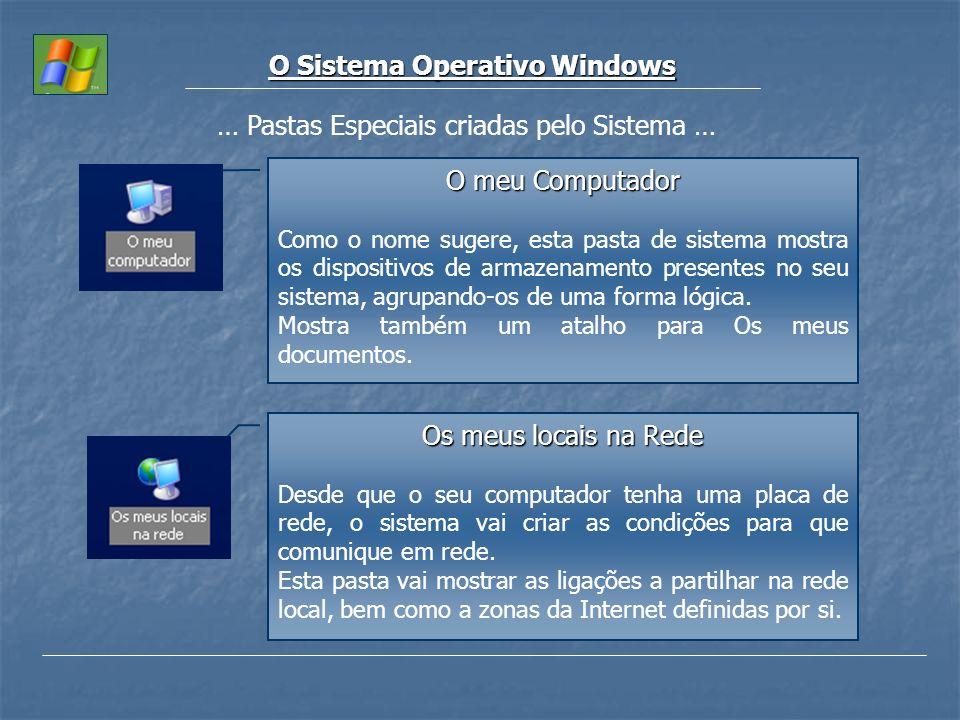 O Sistema Operativo Windows … Pastas Especiais criadas pelo Sistema … O meu Computador Como o nome sugere, esta pasta de sistema mostra os dispositivo
