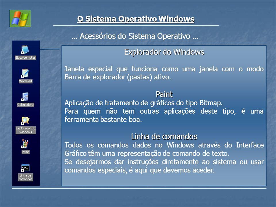 O Sistema Operativo Windows … Acessórios do Sistema Operativo … Explorador do Windows Janela especial que funciona como uma janela com o modo Barra de