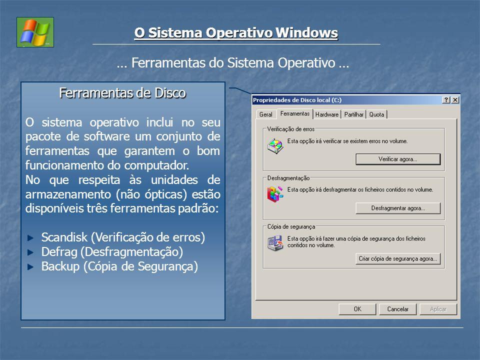 O Sistema Operativo Windows … Ferramentas do Sistema Operativo … Ferramentas de Disco O sistema operativo inclui no seu pacote de software um conjunto