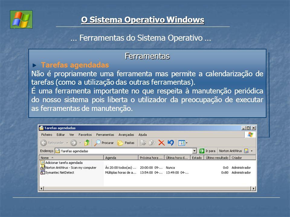 O Sistema Operativo Windows … Ferramentas do Sistema Operativo … Ferramentas Tarefas agendadas Não é propriamente uma ferramenta mas permite a calenda