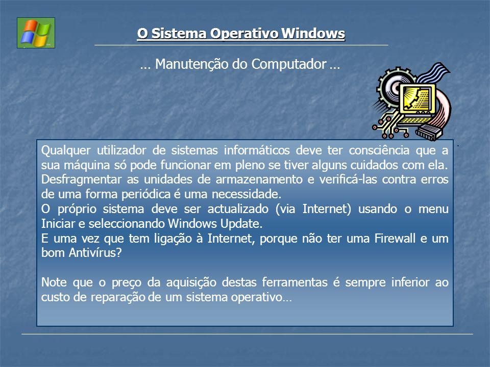 O Sistema Operativo Windows … Manutenção do Computador … Qualquer utilizador de sistemas informáticos deve ter consciência que a sua máquina só pode f