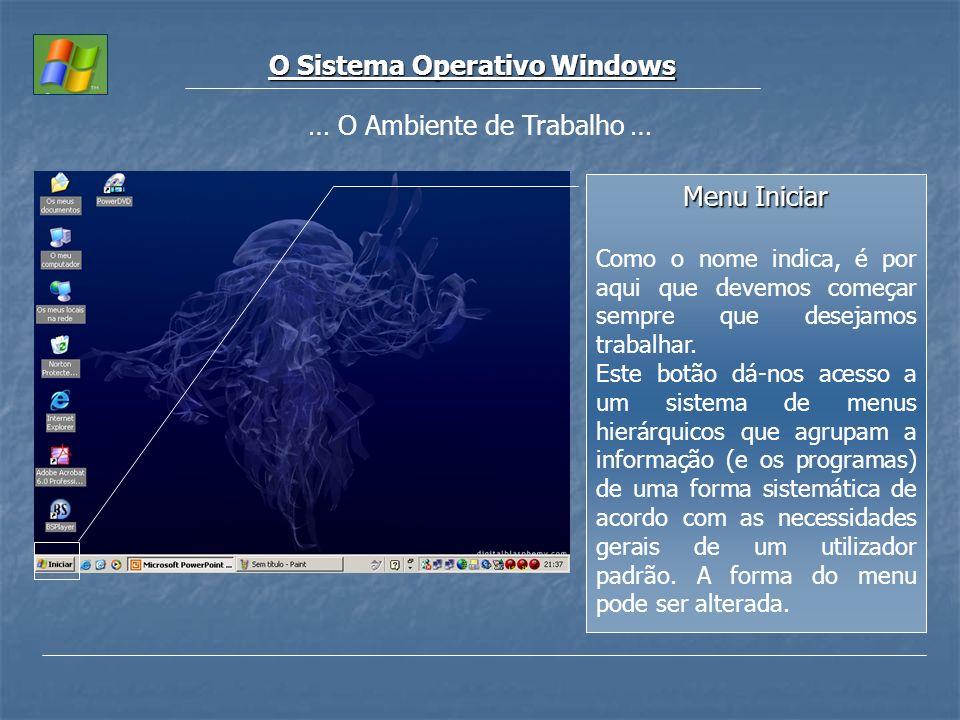 O Sistema Operativo Windows Menu Iniciar Como o nome indica, é por aqui que devemos começar sempre que desejamos trabalhar. Este botão dá-nos acesso a