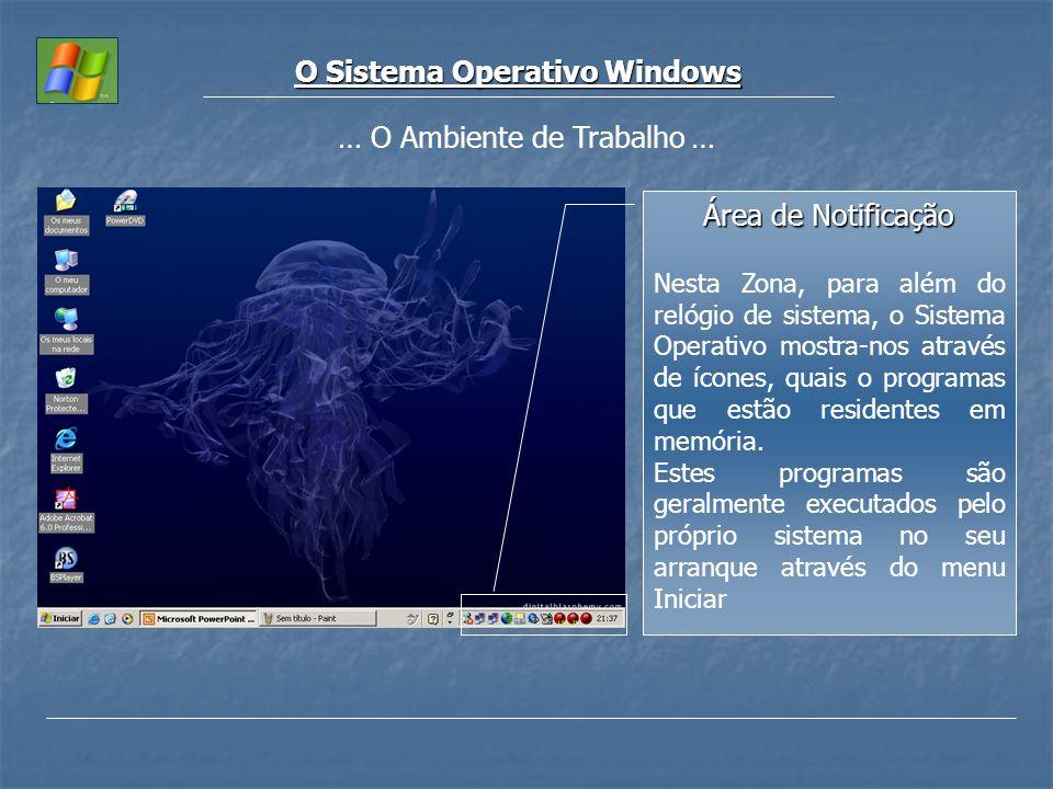 O Sistema Operativo Windows Área de Notificação Nesta Zona, para além do relógio de sistema, o Sistema Operativo mostra-nos através de ícones, quais o