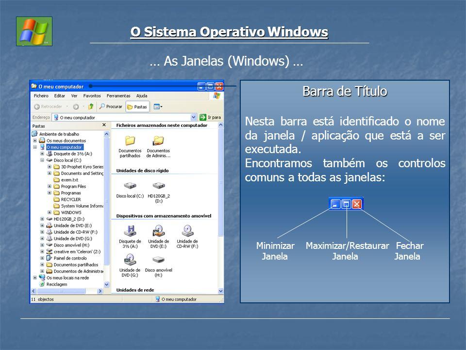 O Sistema Operativo Windows … As Janelas (Windows) … Barra de Título Nesta barra está identificado o nome da janela / aplicação que está a ser executa