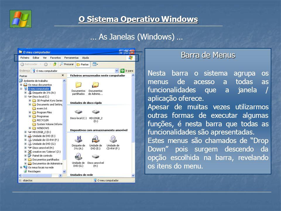 O Sistema Operativo Windows … As Janelas (Windows) … Barra de Menus Nesta barra o sistema agrupa os menus de acesso a todas as funcionalidades que a j