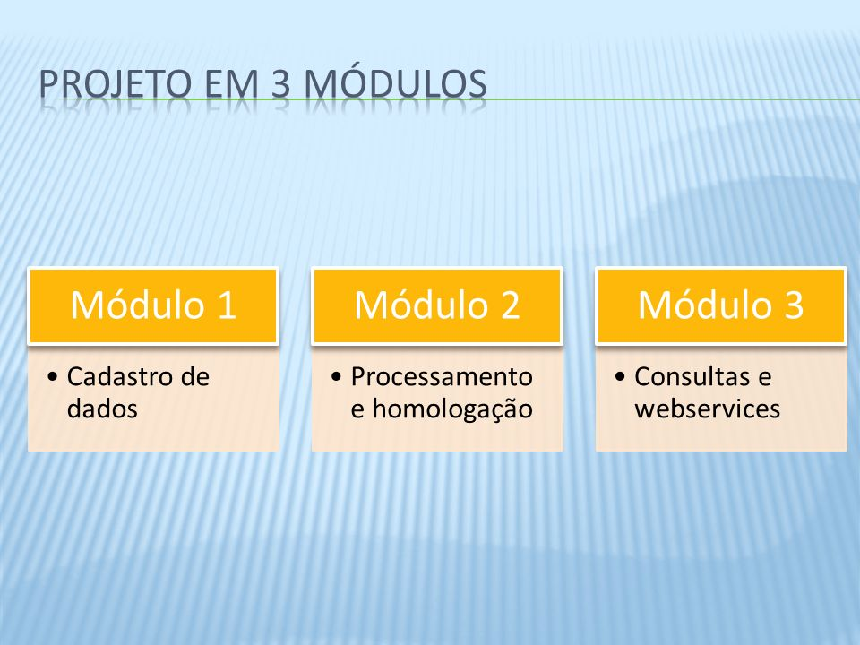 Cadastro de dados Módulo 1 Processamento e homologação Módulo 2 Consultas e webservices Módulo 3