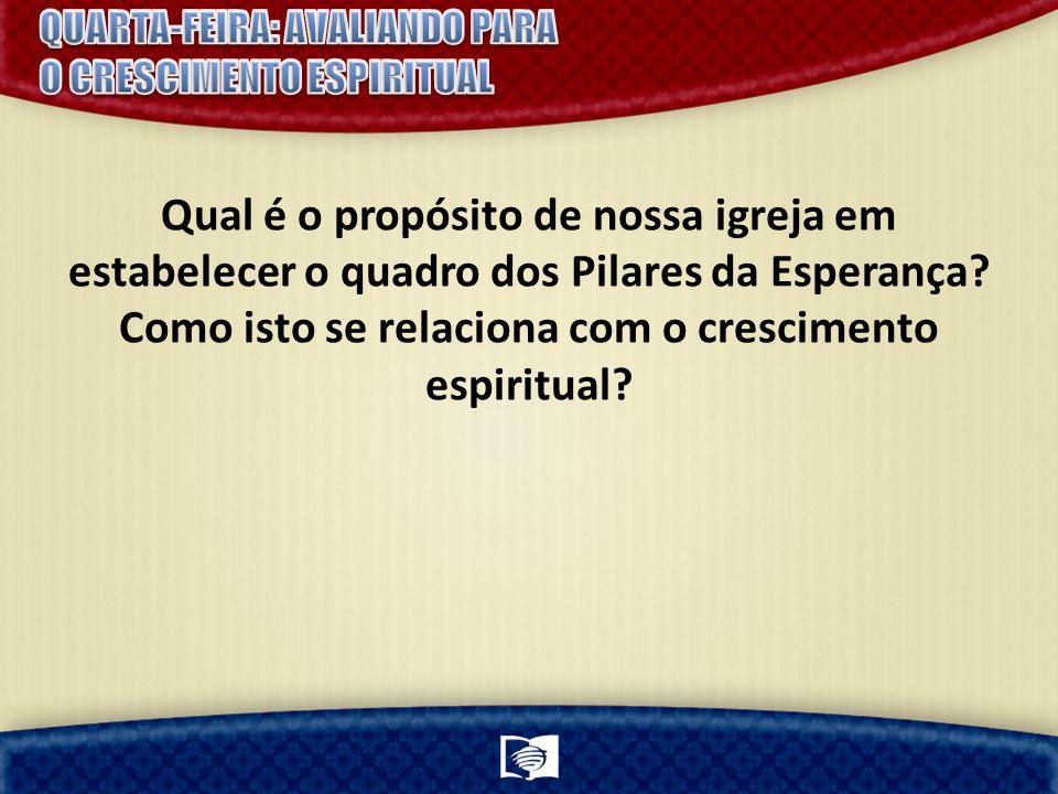 Qual é o propósito de nossa igreja em estabelecer o quadro dos Pilares da Esperança.