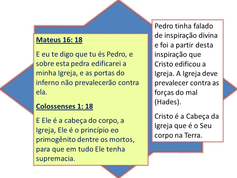 Mateus 16: 18 E eu te digo que tu és Pedro, e sobre esta pedra edificarei a minha Igreja, e as portas do inferno não prevalecerão contra ela. Colossen