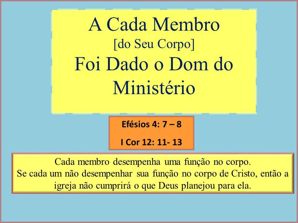 A Cada Membro [do Seu Corpo] Foi Dado o Dom do Ministério Cada membro desempenha uma função no corpo. Se cada um não desempenhar sua função no corpo d