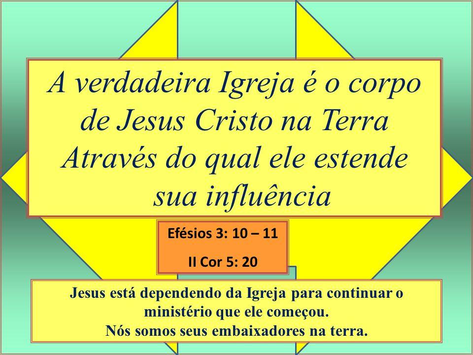 A verdadeira Igreja é o corpo de Jesus Cristo na Terra Através do qual ele estende sua influência Jesus está dependendo da Igreja para continuar o min