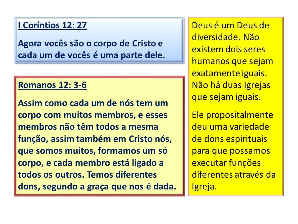 Romanos 12: 3-6 Assim como cada um de nós tem um corpo com muitos membros, e esses membros não têm todos a mesma função, assim também em Cristo nós, q