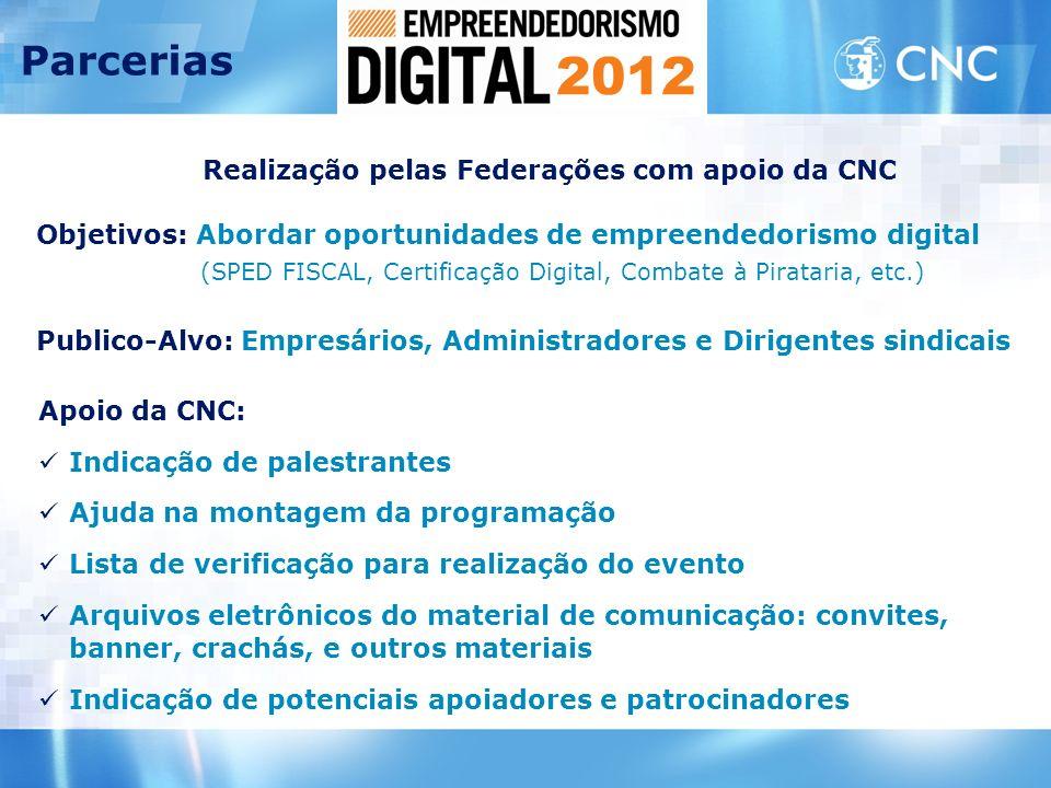 Apoio da CNC: Indicação de palestrantes Ajuda na montagem da programação Lista de verificação para realização do evento Arquivos eletrônicos do materi