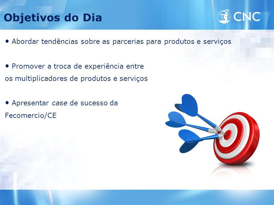 Objetivos do Dia Abordar tendências sobre as parcerias para produtos e serviços Promover a troca de experiência entre os multiplicadores de produtos e