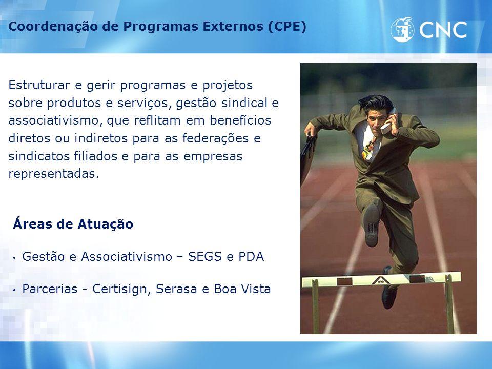 Coordenação de Programas Externos (CPE) Estruturar e gerir programas e projetos sobre produtos e serviços, gestão sindical e associativismo, que refli