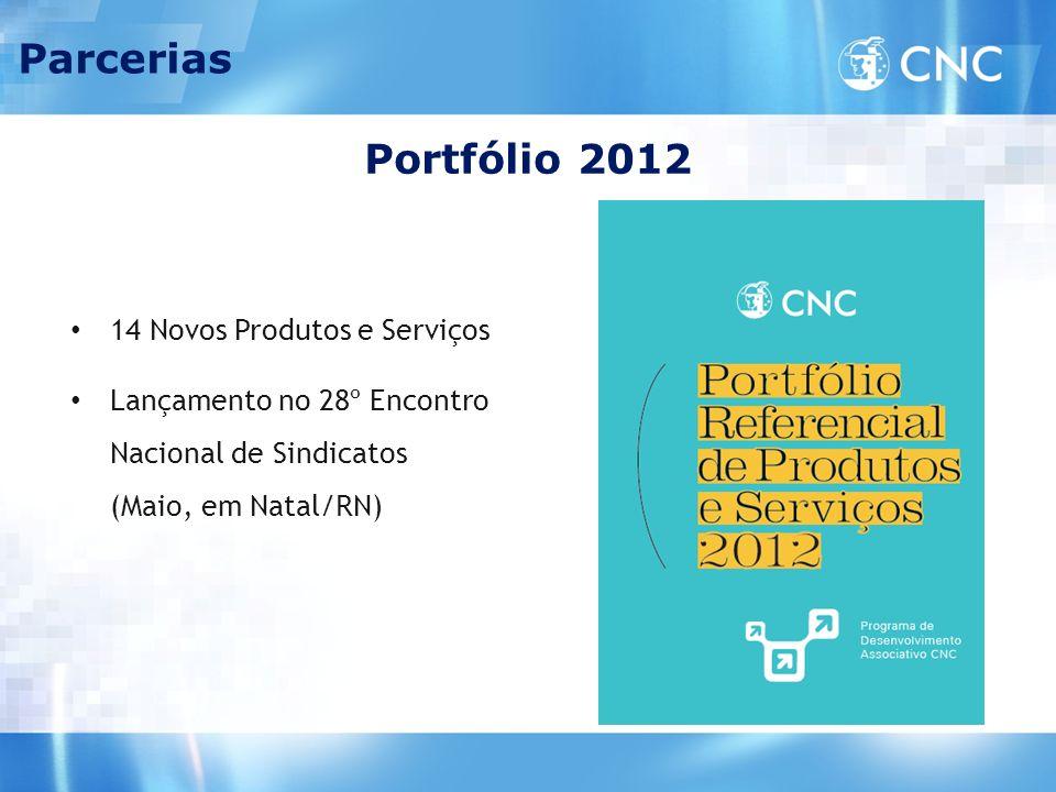 Portfólio 2012 Parcerias 14 Novos Produtos e Serviços Lançamento no 28º Encontro Nacional de Sindicatos (Maio, em Natal/RN)