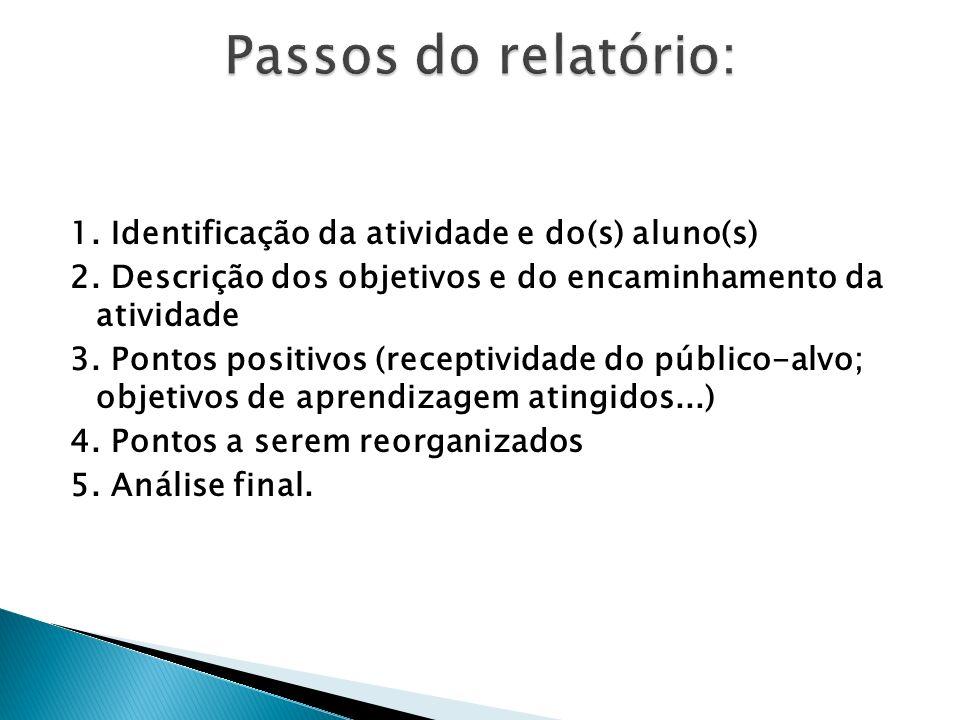 1. Identificação da atividade e do(s) aluno(s) 2. Descrição dos objetivos e do encaminhamento da atividade 3. Pontos positivos (receptividade do públi