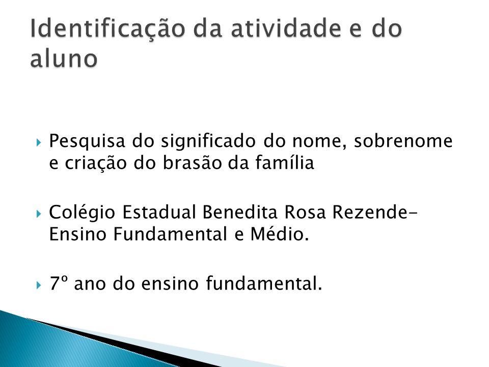 Pesquisa do significado do nome, sobrenome e criação do brasão da família Colégio Estadual Benedita Rosa Rezende- Ensino Fundamental e Médio. 7º ano d