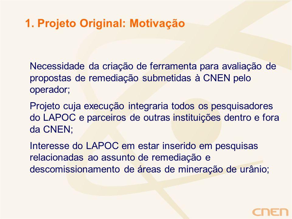 Necessidade da criação de ferramenta para avaliação de propostas de remediação submetidas à CNEN pelo operador; Projeto cuja execução integraria todos