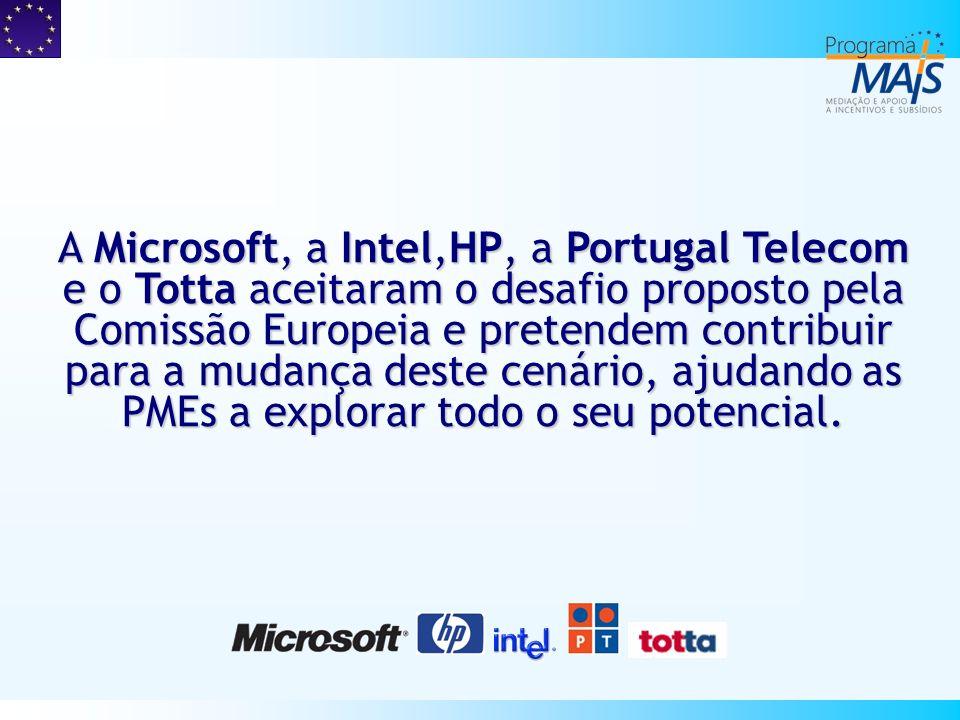 A Microsoft, a Intel,HP, a Portugal Telecom e o Totta aceitaram o desafio proposto pela Comissão Europeia e pretendem contribuir para a mudança deste cenário, ajudando as PMEs a explorar todo o seu potencial.